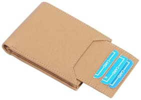 long lasting money saved pure leather (pu) wallet ( Cream bacha-1)