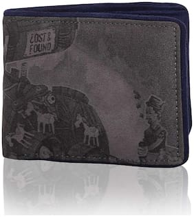 Lost & Found Engine Print Suede Engraved Grey & Navy Blue Wallet