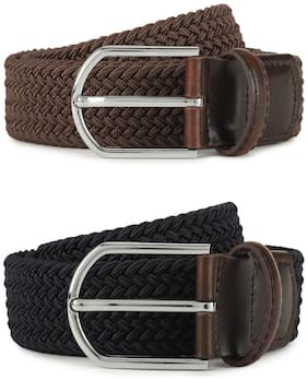 Louis Philippe Men Brown & Black Leather Belt (Size: 32 , Pack of 1 )