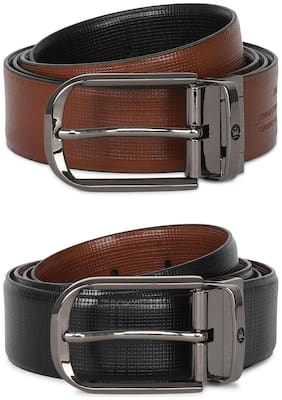 Louis Philippe Men Brown & Black Leather Belt (Size: 32 , Pack of 2 )