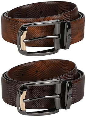 Louis Philippe Men Brown Reversible Leather Belt (Size: 36 , Pack of 1 )