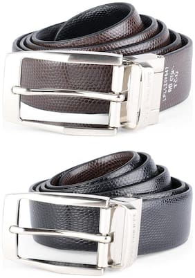 Louis Philippe Men Black Leather Belt (Size: 32 , Pack of 1 )