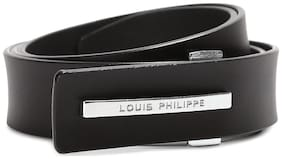 Louis Philippe Men Black Leather Belt (Size: Free size , Pack of 1 )