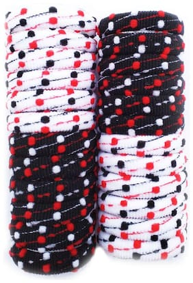 Maahal  24 Pieces Large Cotton Stretch Hair Ties Bands Rope Ponytail Holders for Thick Heavy and Curly Hair (Multicolour)