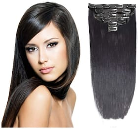 Maahal 6pcs 14 Clips 24-26 inch Straight Full Head Clip In On Hair Extensions Women Lady Hairpcs (Black)