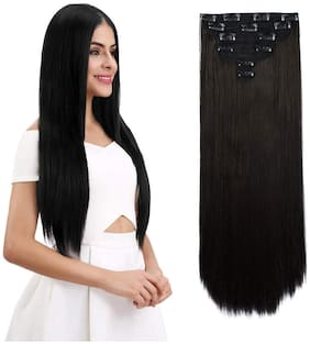 Maahal 6pcs 14 Clips 24-26 inch Straight Full Head Clip In On Hair Extensions Women Lady Hairpcs (Brown)