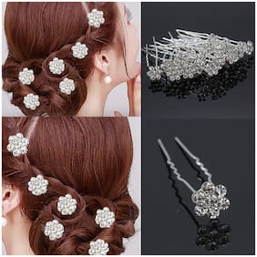 Maahal  Bridal Rhinestone Hair Accessories/Fancy Juda Pins for Bun Decoration for Women and Girls (Silver) - Set of 12