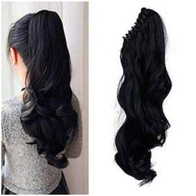 Maahal  Clutcher Ponytail Hair Extension for Girls, Artificial Hair Extension, Black, Pack of 1