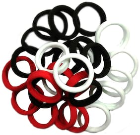 Maahal  Multi Colored Elastic Cotton Stretch Hair Ties Bands For Women/Girls - Pack of 30Pcs