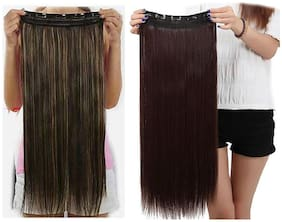 Maahal  Pack of 2, Straight Full Head Synthetic Fibre Clip In Hair Extensions 5 Clips Based 26inch, Brown & Golden Hilighted
