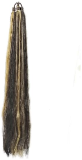 Maahal Synthetic Highlighted Hair Prandi;Extension and Wig For Women or Girls(Black& Brown)