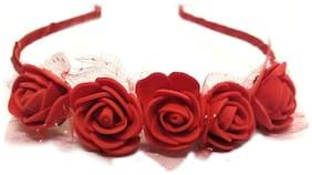 Maahal Women /Girls Rose Floral Flower Garland Crown Headband Hair Band Bridal Festival Clip Red