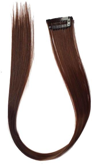 MaahalTM Hair Straight Strips Extensions For Women And Girls;Coloured Hair Extensions For Women;Dark Brown;Pack Of 1