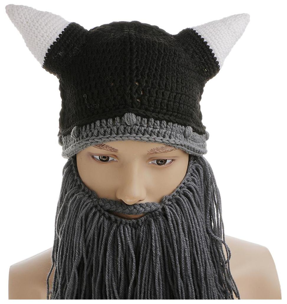 611dacbf9f345 Buy MagiDeal Adults Gray Knitted Beard Mustache Hat Viking Crochet Beanie  Hats Cap Online at Low Prices in India - Paytmmall.com