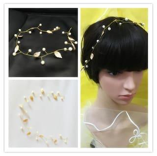 Magideal Wedding Bridal Women Pearl Leaves Garland Headband Hairband Headpiece Gold