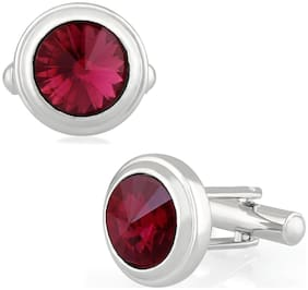 Mahi Rhodium plated Festive Jewelry Maroon Solitaire Crystal Cufflink for mens and boys CL1100534RMar