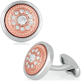 Mahi Valentine Gift Beautiful Orange Cufflink with glittering crystal stones for mens and boys CL1100518R