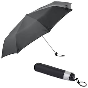 MARKETON Unisex Nylon Black Umbrella ( 3 fold , Pack of 1 )