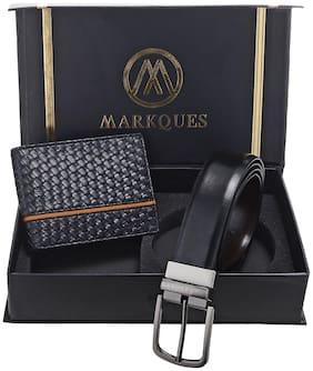 MarkQues Men's Black Leather Wallet & Belt Combo (TT-2201 NL-0102)