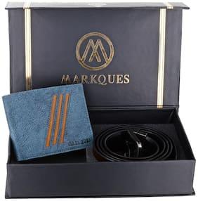 MarkQues Men's Blue & Brown Leather Wallet & Belt Combo (FC-2205 NL-0201)