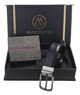 MarkQues Men's Grey & Black Leather Wallet & Belt Combo (VK-2213 NL-0102)