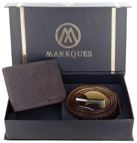 MarkQues Men's Brown Leather Wallet And Belt Combo (HAR-2202 URB-02)