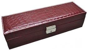 Medetai  Crocodile Pattern PU Leather Rectangle Jewelry Storage Boxes fine Handmade Safety Lock Women Watch Storage