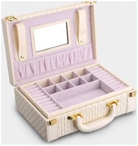 Medetai  Portable Braided Pattern Necklace Jewelry Storage Box Multi-functional Rings Earrings Organizer Case For Women Gift (WHITE)