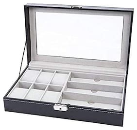 Medetai  PU Leather Watches Box Glasses Eyewear Sunglasses Box Display Storage Case Organizer(Black)
