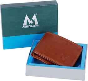 MEDLER Men Casual Tan Genuine Leather Wallet  6 card slots