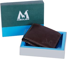 MEDLER Men Casual Brown Genuine Leather Wallet (6 card slots)