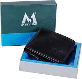 MEDLER Men Casual Black Genuine Leather Wallet (6 card slots)