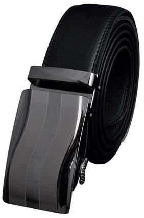 Men Automatic Buckle Leather Black Formal Waist Strap Belts  125cm  K94
