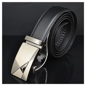 Men Automatic Buckle Waist Strap Belts Leather Black Formal 120cm New