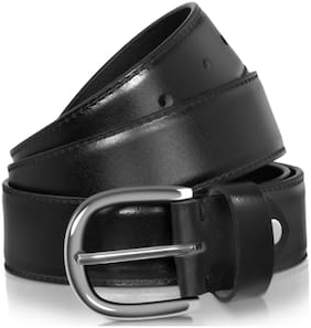 Men Belt;POLLSTAR Men Genuine Leather Dress Belt with Single Prong Buckle (BT124BK)