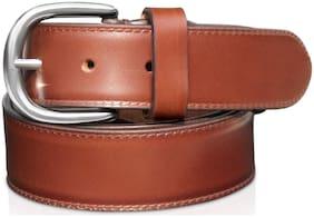 Men Belt;POLLSTAR Men Genuine Leather Dress Belt with Single Prong Buckle (BT124BN)