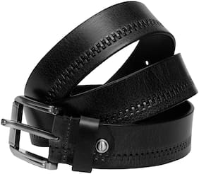 MEN BLACK LEATHER BELT|PARTY|CASUAL|FORMAL|SIZES 40 inch TO 50 inch| (GO_0098)