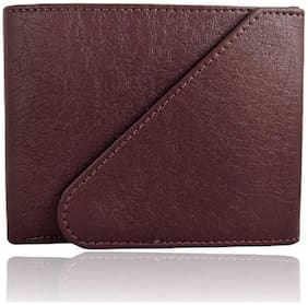 Men Branded Wallet, PU Leather, Dark Brown, Tri-Fold, Hand Made, Long Lasting Quality, (Model-MW/TF/Br-0022)