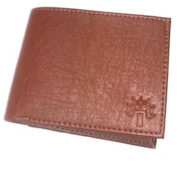 Men Casual Brown Artificial Leather Wallet  (5 Card Slots) 1Pc