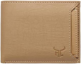 Highlark Men Beige Synthetic Leather Checked Slim Bi-Fold Wallet