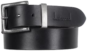 Justanned Men Black Leather Belt (Size: 32 , Pack of 1 )
