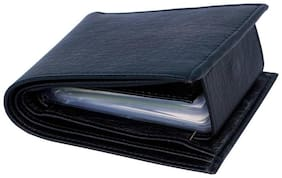 Men Leather Bi-fold Wallet - Black