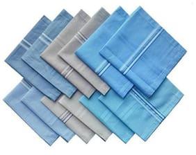 Men's 100% Cotton Handkerchief For Men Set of 12 pcs (Multicolor with Strips)