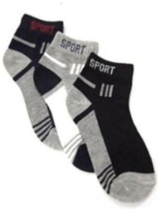 Men'S Ankle Cotton Socks Pack Of 3-Assorted Colors
