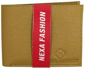 NEXA FASHION Men Beige Synthetic leather Bi-Fold Wallet ( Pack of 1 )