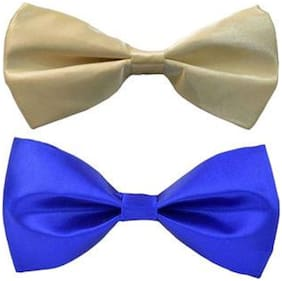 Men's cream and .blue neck bow tie (Pack of 2)