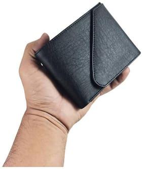 Men Leather Tri Fold Wallet ( Black )