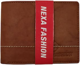 NEXA FASHION Men Brown Leather Bi-Fold & Long Wallet ( Pack of 1 )