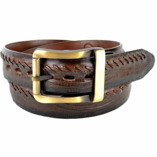 HANDMADE LOS ALTOS COGNAC GENUINE CAIMAN CROCODILE BELLY WESTERN COWBOY BELT
