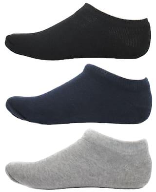 HashBean Men's No Show Low Cut Loafer socks (1 Black, 1 Navy, 1 Silver)